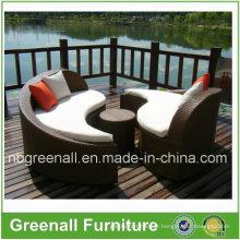 Mobília ao ar livre do lounge de Sun do vime para o jardim
