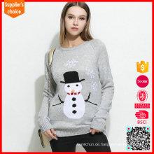 Neueste Design gestrickte Pullover Frau Karikatur Jacquard Weihnachten Pullover