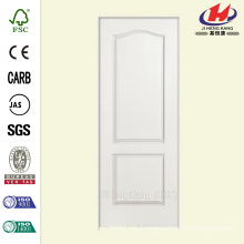 36 in. x 80 in. Smooth 2-Panel Arch Top Hollow Core Primed Composite Single Prehung Interior Door