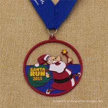 Medalha Promocional Personalizada Esmalte Santa Run para o Natal