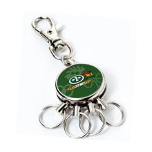 Função promocional Round Printing Logo Keychain com Anéis Multi (F1339B)