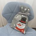 Grey Non-woven Snowman Christmas Drawstring Bags