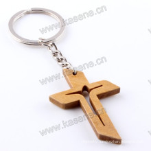 Religious Wholesale Fashion Cheap Carving Wooden Jesus Cross Keychain