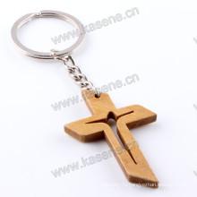 Религиозная оптовая мода Дешевые резьба Деревянные Иисуса Креста брелок