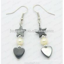 Boucles d'oreilles à perles coeur en hématite magnétique