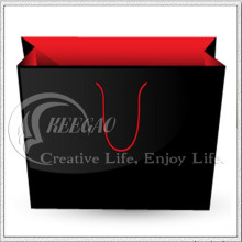 Prueba de SGS, bolsa de papel negra y roja, bolso de compras (KG-PB041)