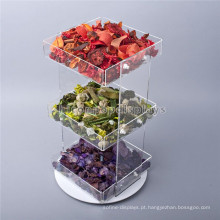 Creative Food Retail Store Countertop 3-Tier Rotating Clear Acrylic Cupcake e Candy Display Bandejas
