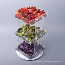 Творческий Пищевыми Продуктами Розничная Прилавок Магазина 3 Уровня Вращающийся Прозрачный Акриловый Кекс И Конфеты Подносы Дисплея