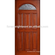 Mahogany Type Prefinished Fanlite Solid Wood Door with Glass