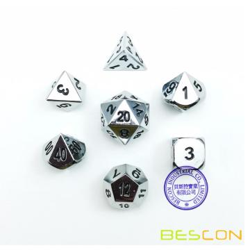 Bescon Super Shiny Gloss Argent Métal 7pcs Ensemble de dés Polyhedral, Chrome Metal RPG Game Dice 7pcs Set