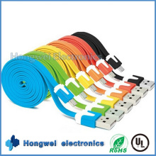 1 M Colorful Flat Ribbon Noodle USB 2.0 to Micro USB Cable
