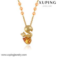 43316 long collier de perles en or conçoit la mode 18k champagne bijoux de pierres précieuses en or long collier