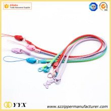 Top quality colorful zipper lanyard for wholesale