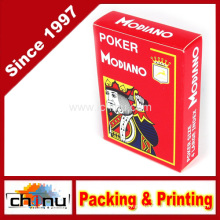 Modiano Italian Poker Game Playing Cards - Red Poker - Large 4 Index - Single Card Deck - 100% Plastic (430147)