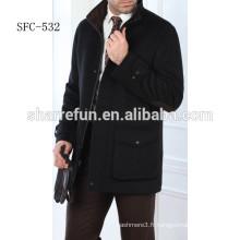 Manteau en laine de vente chaude noir hommes