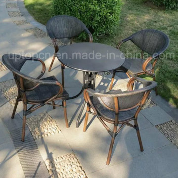 Outdoor and Indoor Restaurant Furniture Set with PE Rattan Chair and Round Table (SP-CT836)