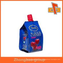 Stand up de grado alimentario reutilizable bolsa de bebida de energía con el chorro de embalaje