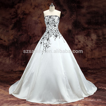 2017 white satin lace sweep train ball gown wedding dress with real pictures