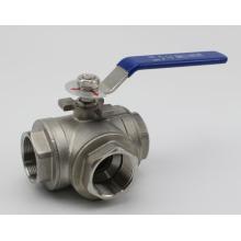 Válvula de bola de tres vías de acero inoxidable con certificado CE