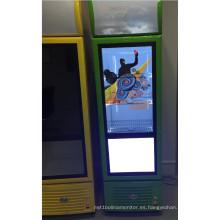 Refrigerador comercial de 32 pulgadas con puerta transparente de LCD como herramienta de publicidad de promoción de productos