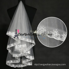 Floor Length Tulle bridal veil Ivory Wedding Veil With Lace Wedding Accessories