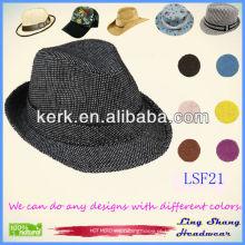 Fábrica de Design de Preço popular tecido unisex Fedora chapéu snapback chapéus chapéu preto costume, LSF21