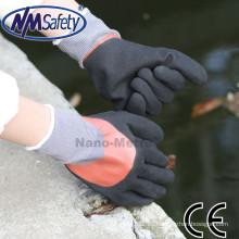NMSAFETY doble revestimiento guantes de nitrilo anti aceite trabajo guantes máquina