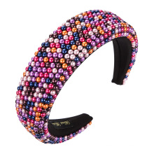 new personality exaggerated gypsophila wide-sided thick sponge pearl headband for ladies, pure color fabric headband
