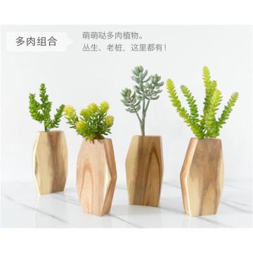 Multilateral Plastic Flowers Wooden Vase Standing