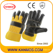 Black Furniture Cowhide Split Leather Industrial Safety Work Gloves (310023)
