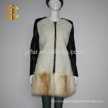 Top Quality Women's Luxury Genuine Lamb Fur Coat with Fox Fur Hem and Leather Sleeves