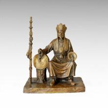 Statue de l'Est Sculpture traditionnelle en bronze de moine Tple-026