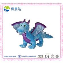 Realista styling dragão azul com brinquedos de pelúcia sonoro eletrônico