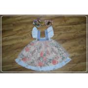 kids rose printed party dress