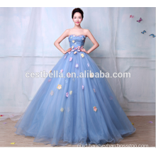 Wholesale Cheap Dark Blue Strapless Puffy Chinese Wedding Dress 2017