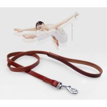 Dog Harness Leash Leather with Traffic Handle and Double Layer for Medium and Large Dogs