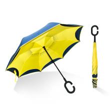 Venda Por Atacado tecido pongee mãos livres de dupla camada reversa do avesso invertido guarda-chuva