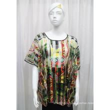 Chemise creuse de ressort tricoté par polyester imprimé par Madame de mode (YKY2204)