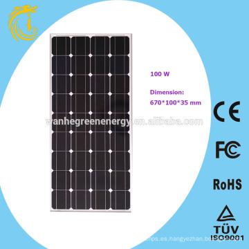Panel solar de 100W para farola solar de 60w