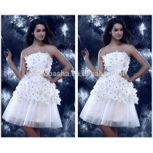 Vogue 2014 White Strapless Knee-Length Tulle Skirt Short A-Line Homecoming Dress Graduation Gown With Flower Crystal NB0841