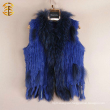 New Fashion Sleeveless Stretched Hand Woven Clothes Rabbit Fur Vest Fur