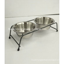 Iron Art Pet Double Feeding Bowl