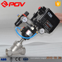 Pneumatic angle seat valve fast acting pneumatic valve