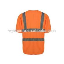 ENISO 20471norm reflexivo T-shirts, alta visibilidade 100% tecido de malha de poliéster personalizado coletes de segurança