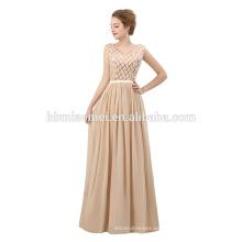 2018 último vestido de noche vestido de diseño simple vestido de noche de color champán piso con dequins