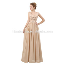 2018 latest evening gown dress simple design champagne color floor length evening gown with dequins
