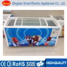 Большой размер Изогнутые раздвижные стеклянные двери Мороженое Морозильная камера морозильника
