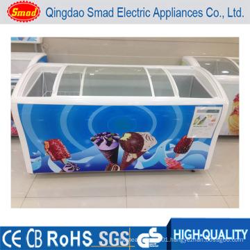 Commercial Big Capacity Deep Freezer Glass Top Door Chest Freezer