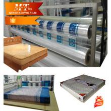 cheap blue soft PVC mattress packaging film/transparent PVC sheets