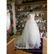 Vestido de Baile vestido de novia Floral Lace piso de longitud joya encaje vestido nupcial P104